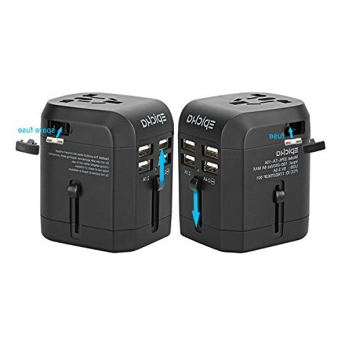 Universal USB Travel Power Adapter-EPICKA All One Wall Power EU UK Cell Phone Laptop Including 3.5A Smart Power Charging