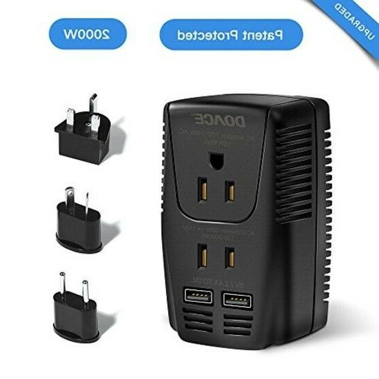 2000w Travel Power Converter and Adapter with 2 USB Ports,2
