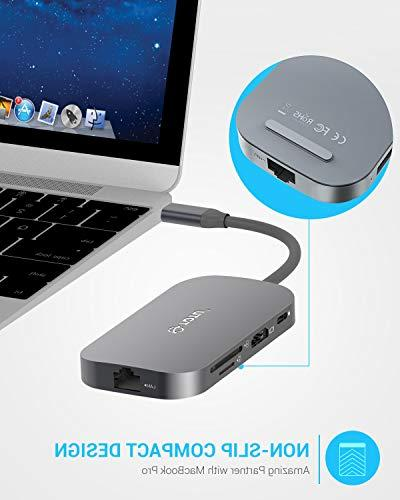 USB Hub, 8-In-1 Type Hub with Ethernet USB C to 2 USB 1 USB 2.0 SD/TF Reader, Power for Mac Pro Type C Laptops