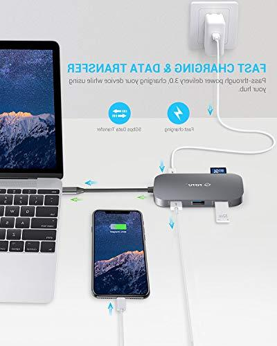 USB C 8-In-1 Hub with Ethernet USB C to HDMI, 2 3.0 1 USB Port, SD/TF Power Delivery, Mac Type