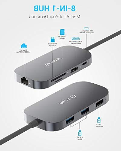 USB C Hub, TOTU 8-In-1 C with Ethernet 4K USB C to HDMI, 2 USB 1 USB 2.0 SD/TF Reader, Power Delivery, Portable for Mac Pro and Type