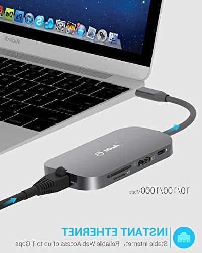 USB TOTU 8-In-1 C with Ethernet Port, USB C to 2 USB 3.0 1 USB 2.0 SD/TF Card Reader, USB-C Power Delivery, Portable for Mac Pro Type