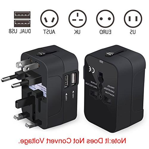 NEWVANGA International All in Worldwide Travel Adapter Charger Power Plug Dual USB Charging AUS Phone Laptop