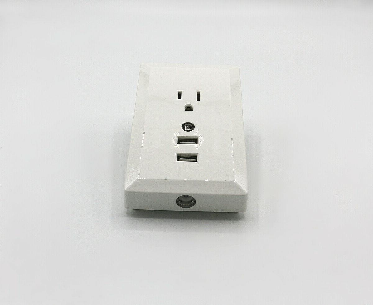 Wall Outlet Night Light Adapter Dual Socket