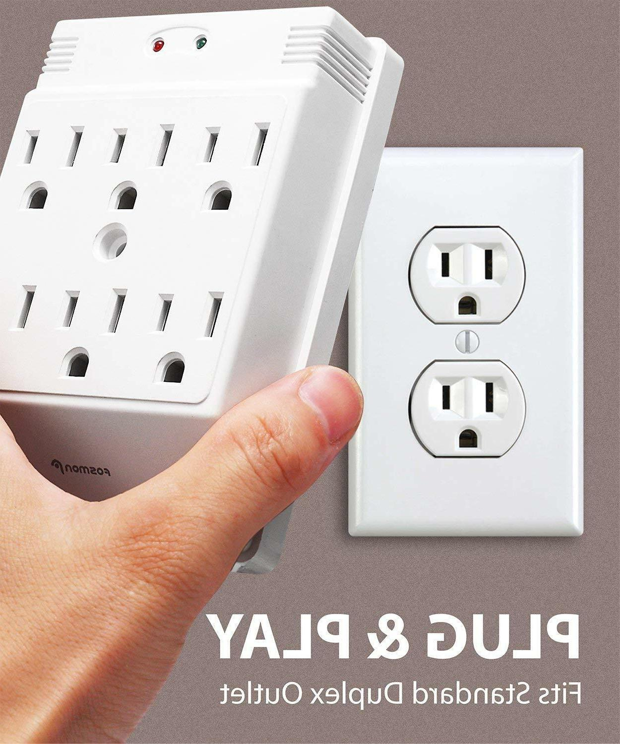 Wall Adapter Power Surge Protector 6 Outlets