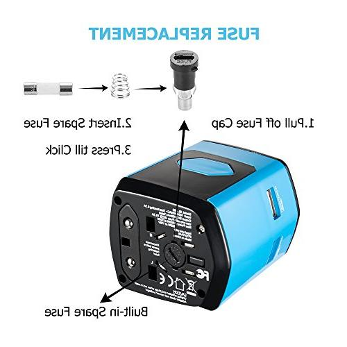 Worldwide Travel Power Adapter with All-in-One Travel Ports Chip for Over for HomeKer