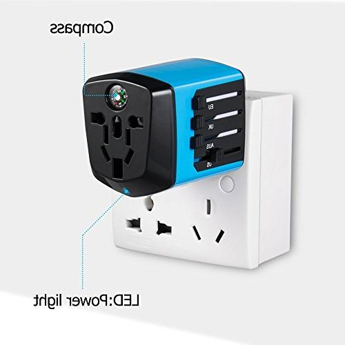 Worldwide Travel Adapter with Compass,Upgraded Travel with Dual Charging Ports with for Over for HomeKer