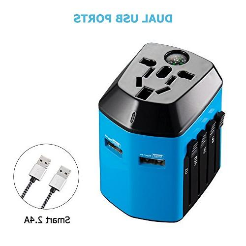 Worldwide Travel Adapter with Compass,Upgraded Travel with Ports for Over 160 for HomeKer