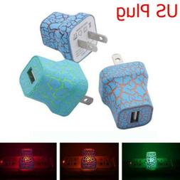 LED Light Up USB Wall Charger US Plug 5V 1A Phone Power Adap