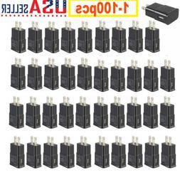 Lot 5-100 Plug USB Power Adapter AC Home Wall Charger For Sa