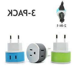 OREI Most of Europe Travel Plug Adapter - 2 USA Inputs - 3 P