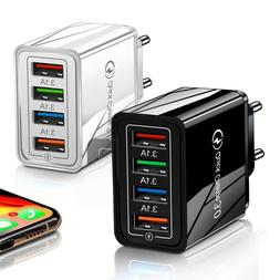 NEW 4 Ports Fast Quick Charge QC 3.0 USB Hub Wall Charger Po