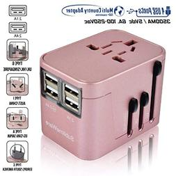 Power Plug Adapter - International Travel - w/4 USB Ports Wo