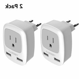 TESSAN Power Plug Adapter with 2 USB Ports for USA to Europe