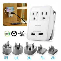 Poweradd Power Strip Surge Protector w/ 2 Outlets & USB Char
