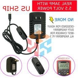 Raspberry Pi 3 3B Power Supply 5V 3A 3000mA Micro USB Charge