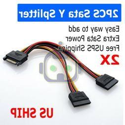 SATA Power 15-pin Y-Splitter Cable Adapter Male to Female fo