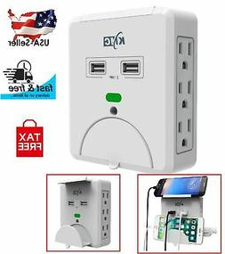 Surge Protector Wall 6 Outlet Dual USB Port Socket Charger A