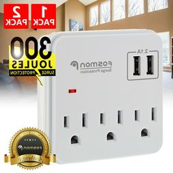 Surge Protector Wall Tap Adapter Multi Plug Power Strip 3 Ou
