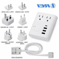 Travel Adapter Power Strip by OREI International Plug for Wo