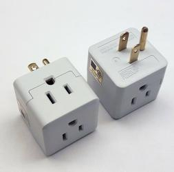 8X Triple 3 Outlet Grounded AC Wall Plug Power Splitter 3-Wa