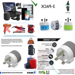 UK Ireland Dubai Power Plug Adapter By OREI W 2 USA Inputs T
