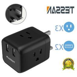 TESSAN UK Ireland Scotland Travel Power Adapter with 2 USB P