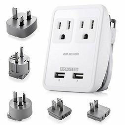 Poweradd  2-Outlet International Travel Charger Power AC Ada