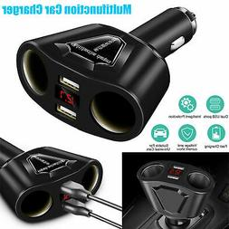 Car LCD Cigarette Lighter Socket Splitter DC 12V Dual USB Ch