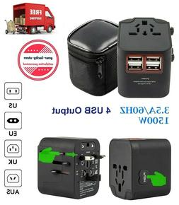 3-PACK of Universal Plug Adapters for Travel in US, UK, AU,