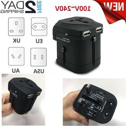 Universal Travel Plug Adapter USB Power European Outlet Inte
