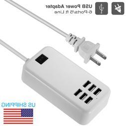 6-Port Multi USB Charger Desktop Charging Station 5V 6A Powe
