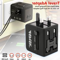 Universal Wall Charger 2 USB AC Power Plug Converter US EU U