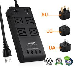 Universal World Travel Adapter Converter With 4 USB Charger