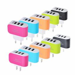 US EU Plug 3 USB Wall Chargers 5V 3.1A LED Travel Power Adap