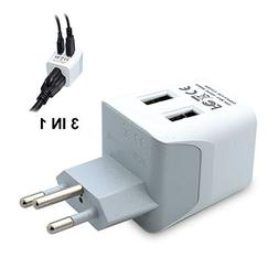 Ceptics USA to Switzerland Travel Adapter Plug  With Dual US