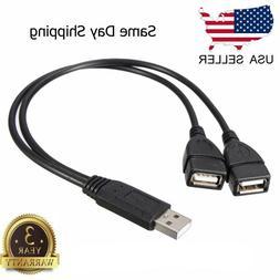 USB 2.0 A Male To 2 Dual USB Female Jack Y Splitter Hub Powe
