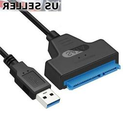 """USB 3.0 to SATA III HDD SSD 2.5"""" Hard Drive Adapter Cable 22"""