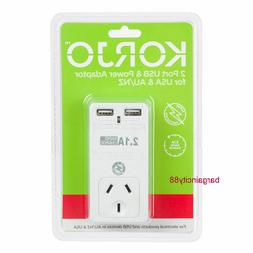 Universal Travel Adapter Dual 2USB Power Plug to AU USA Cana