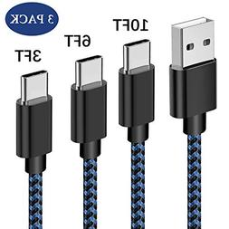 USB Type C Cable, Daker 3pack 3ft 6ft 10ft Braided Nylon Cor