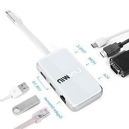 USB C Hub, USB C HDMI Adapter,Thunderbolt 3 Hub,60W Charging