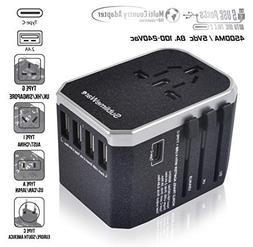 USB Type C Travel Power Plug Adapter - 5 USB Ports  Wall Cha
