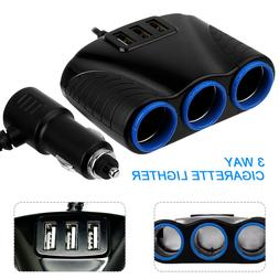 USB Charger 12V Power Adapter 3 way Car Multi Cigarette Ligh