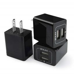 USB Wall Charger, AILKIN 3-Pack 2.1A Dual Port USB Plug Powe