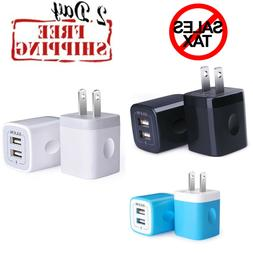 USB Wall Charger Home Travel Plug Power Adapter Dual Port Po