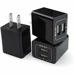 USB Wall Chargers Charger, AILKIN 3-Pack 2.1A Dual Port Plug