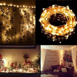 Warm White 33FT 100 LED Copper Wire Light String Fairy Light