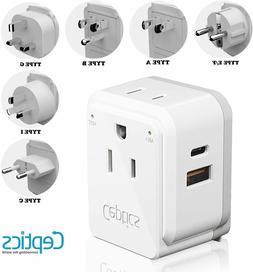 World Power Plug Adapter Travel Set Ceptics, Safe Dual USB &